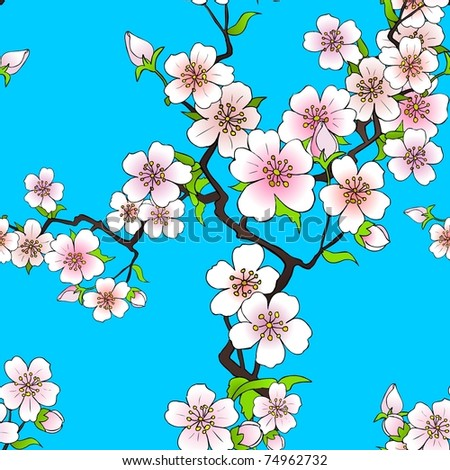 Pattern of cherry blossom - stock vector