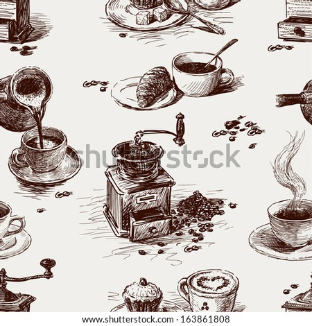 pattern of coffee - stock vector