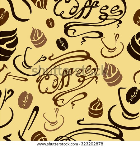 pattern of coffee cups, Turks and pastries in a retro style - stock vector