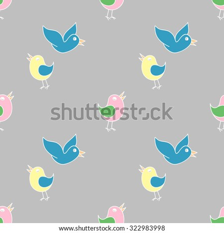 pattern of colored birds