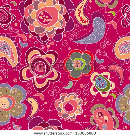 pattern of colored flowers of spring - stock vector