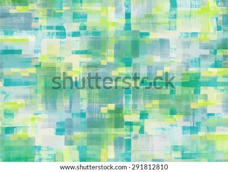 Pattern of colorful abstract geometric shapes. Watercolor background. Vector illustration - stock vector