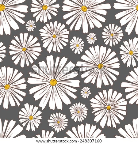 Pattern of daisies.Seamless flower pattern with daisies.Daisy pattern. - stock vector