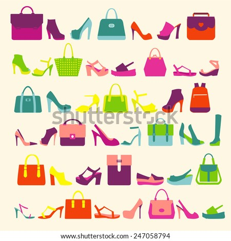 pattern  of  fashion Women bags handbags and High Heels shoes - stock vector