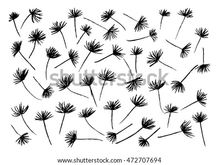 Pattern of Flying of dandelion seeds. Hand drawing illustration.