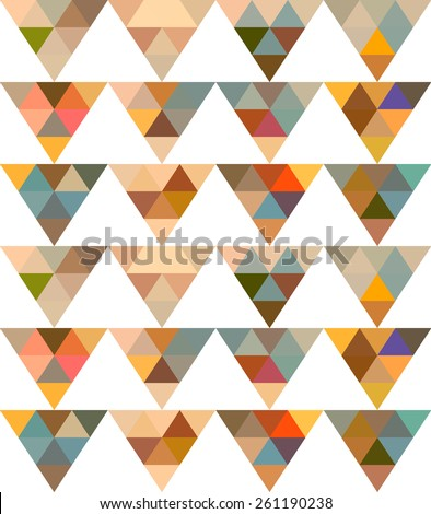 Pattern of geometric shapes. Seamless Retro Geometric Pattern. Texture with triangles, rhombus.Mosaic. Abstract pattern. - stock vector