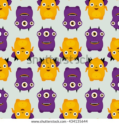 pattern of illustrated monsters, vector illustration, texture