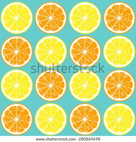 Pattern of orange and lemon slices. Seamless background - stock vector