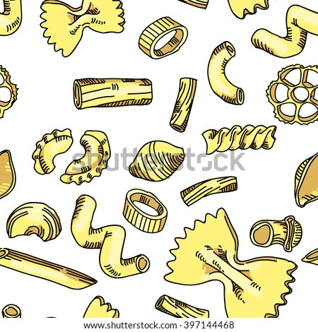 Pattern of pasta. Animation cartoon cooking set.