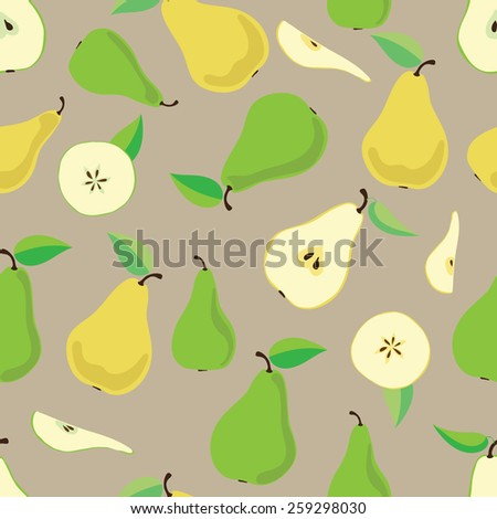pattern of pears. consists of yellow and green pears, their pieces and leaves - stock vector