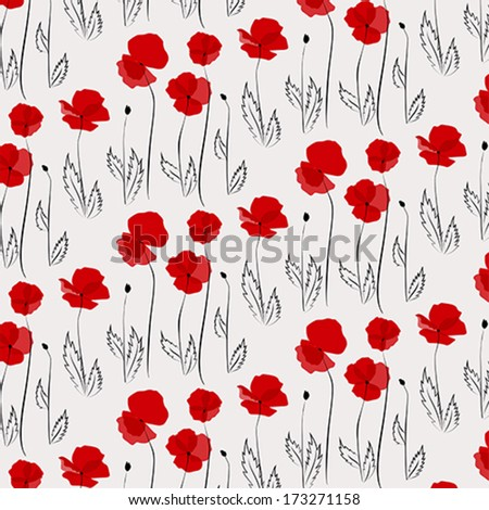 Pattern of poppies including seamless sample in a swat?h panel