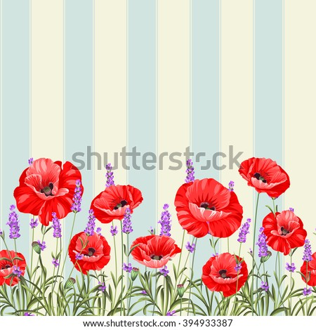 Pattern of poppy flowers over white background. Luxurious color poppy flowers background for a vintage label design. Vector illustration.