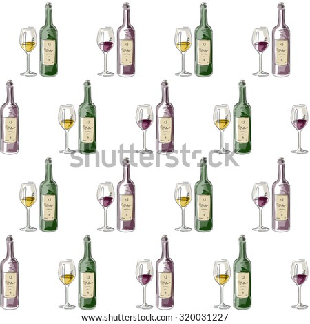 pattern of red and white wine bottles and glasses