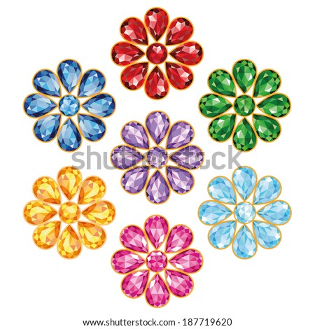 Pattern of seven flowers - precious gems of different colors - blue (sapphire), red (ruby), green (emerald), purple (amethyst), yellow (topaz, amber), blue and pink (diamonds). Isolated Objects - stock vector