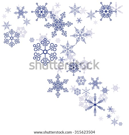 Pattern of snowflakes on a white background - stock vector