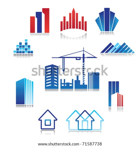 pattern of the sign - construction, real estate, building - stock vector