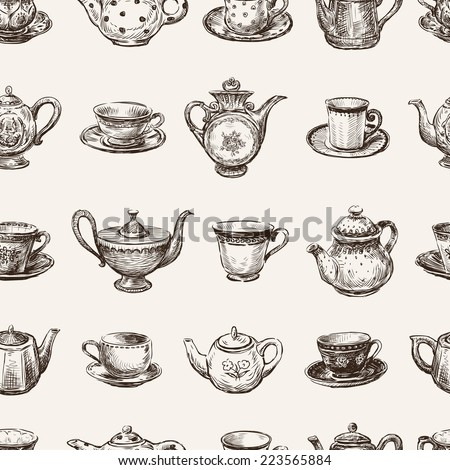 pattern of the teacups and teapots - stock vector