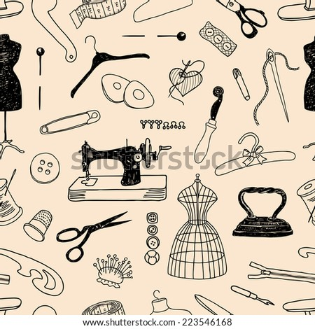 pattern of the theme of sewing - stock vector