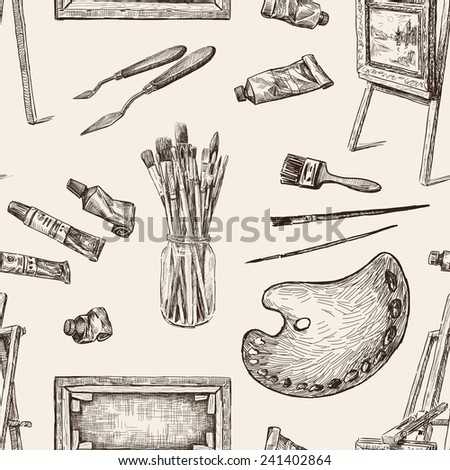 pattern of the tools for painting - stock vector