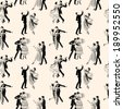 pattern of the vintage dancing couples - stock photo