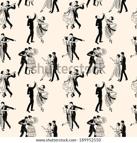 pattern of the vintage dancing couples - stock vector
