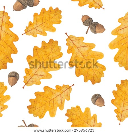 Pattern of watercolor autumn oak leaves. All object made in vector. Each one is separately. Each leaf is separate.