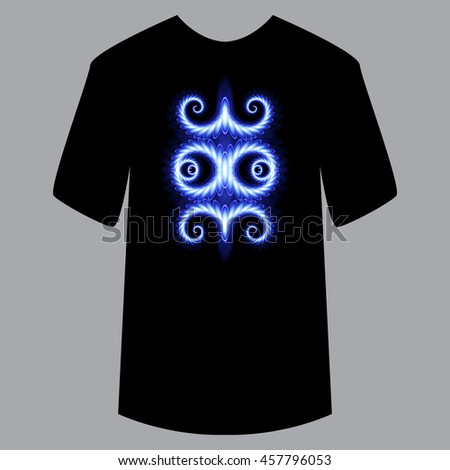 Pattern on shirt, for example application. Blue neon pattern on black shirt. Glowing, trendy, modern style. Universal use on textile, fabric, object, paper