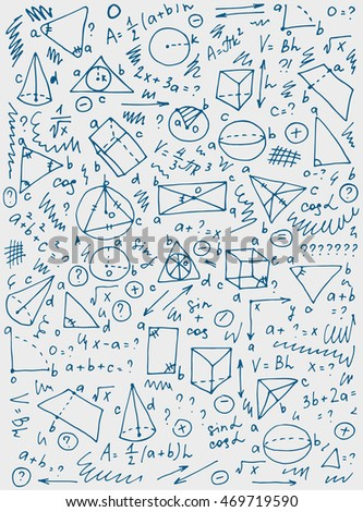 Pattern on the theme of learning with formulas and graphs. Vector Illustration. eps 10