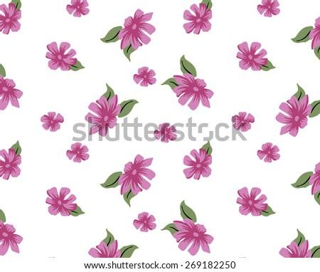Pattern Retro pink flowers. - stock vector