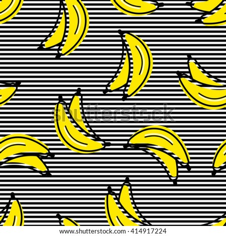 Pattern seamless, beautiful bananas in a flat style in random spread, against the background of black lines - stock vector