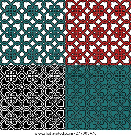 Pattern - Seamless pattern with nautical knots in four colors. Repeating geometrical abstract background inspired by the portuguese pavement. Editable vector. - stock vector