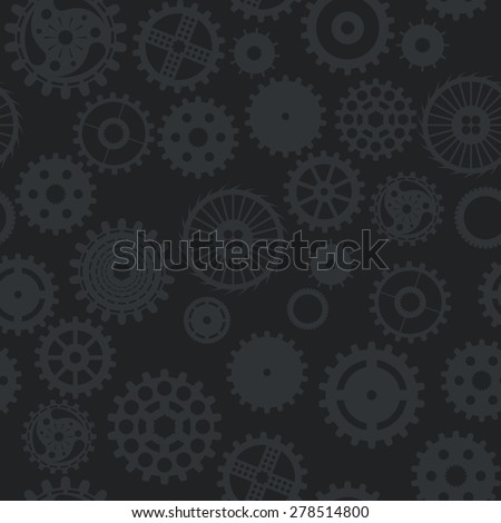 pattern seamless texture background gear wheel turns dark on black.