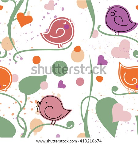 Pattern seamless with birds - stock vector