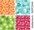 pattern set in naive floral style - stock vector