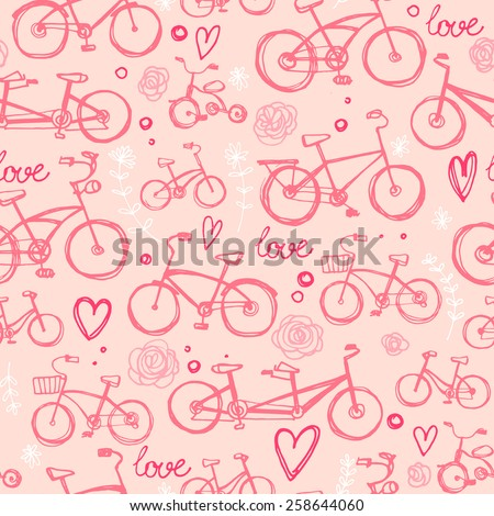 Pattern two bicycle-drawn line, sketch color vector. Romance, flowers, heart, elements - stock vector