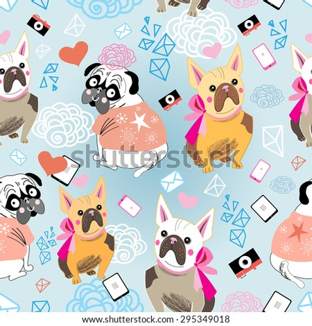 pattern vector graphic portrait of a  Bulldogson a blue background - stock vector