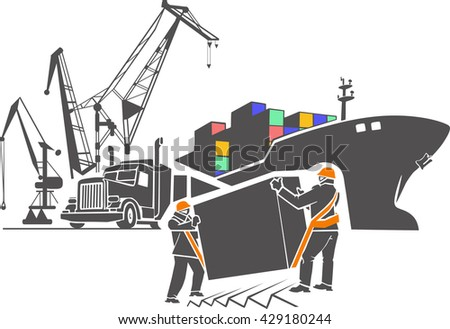Pattern vector illustration . logistics port, ship , freight , storage , terminal, loading, unloading, truck, container ocean, sea , truck delivery truck seaport. - stock vector