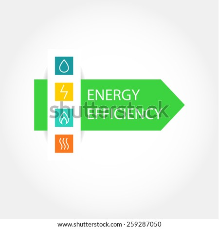 Pattern vector logo with symbols of natural resources and energy. Saving energy resources. Improving energy efficiency. Green Arrow. - stock vector