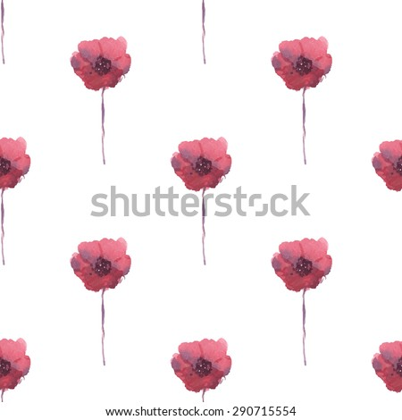 Pattern watercolor red poppies. Background for web pages, wedding invitations, save the date cards. Hand drawn illustration