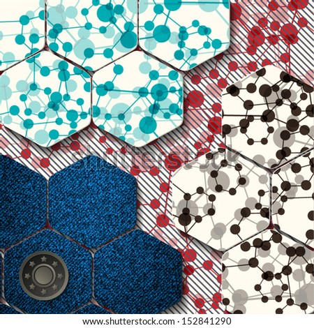 pattern with a layer of denim and molecules - stock vector