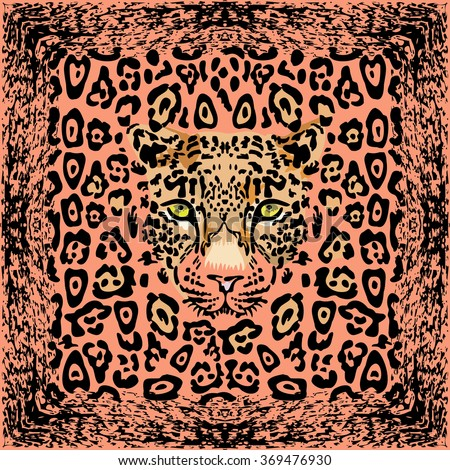 Pattern with a muzzle of a leopard, vector illustration - stock vector