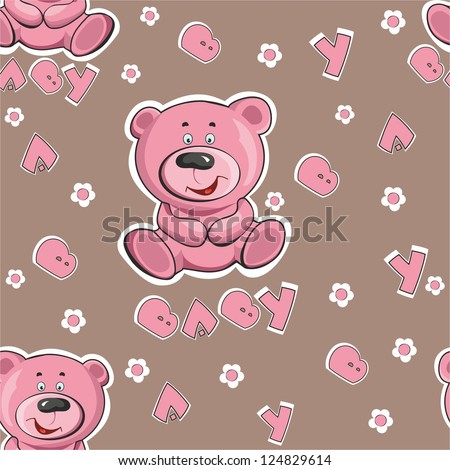 Pattern with a teddy bear on a pink background