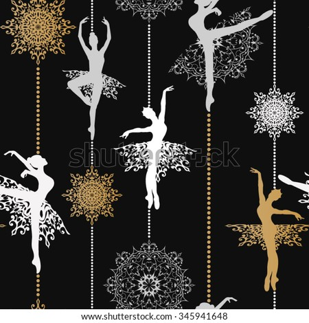 Pattern with ballerinas and snowflakes Retro Christmas pattern Seamless christmas background Vector seamless pattern - stock vector
