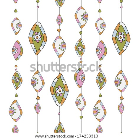 pattern with beads on thread. abstract background of circles and rhombus
