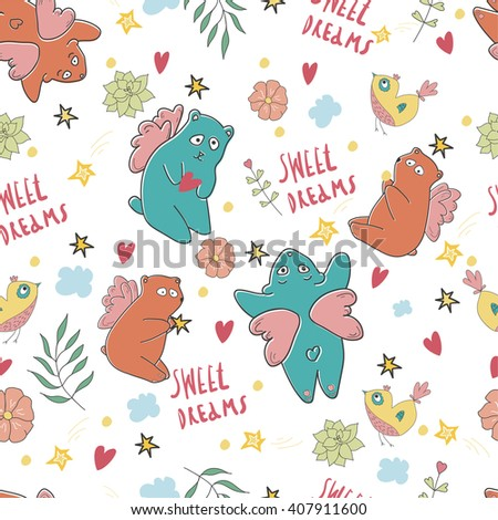 Pattern with bear  birds and stars in childish cartoon style.Pattern can be used for wallpaper, pattern fills, web page background, surface textures. Best pattern for wrapping paper for babies