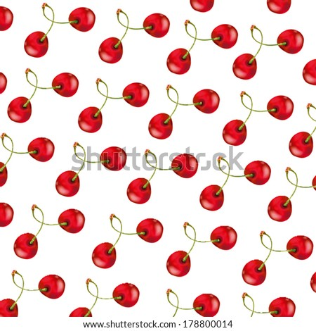 Pattern with beautiful delicious cherries on white background - stock vector