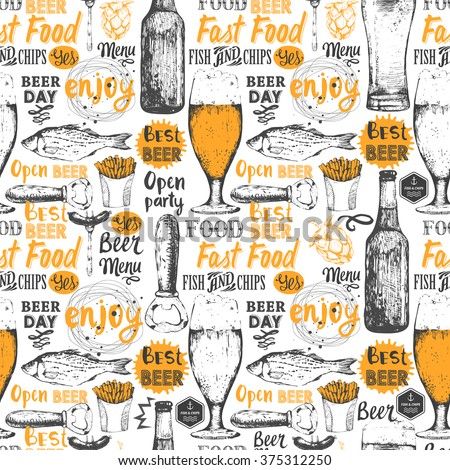 Pattern with beer, cider and snack in sketch style. Seamless background with beer set. Pub menu. Bottle and glass of beer in sketch style. Vector illustration with beer labels.
