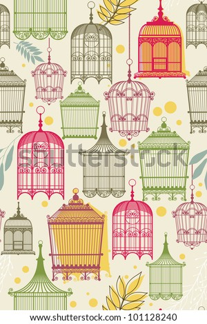 Pattern with birdcages and leaves - stock vector