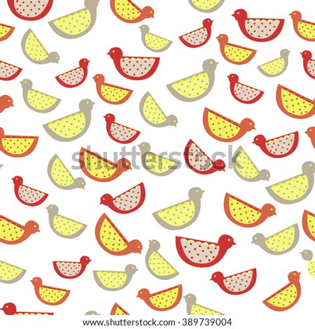 Pattern with birds. Background with cute animals. Spring background. Children's pattern - stock vector