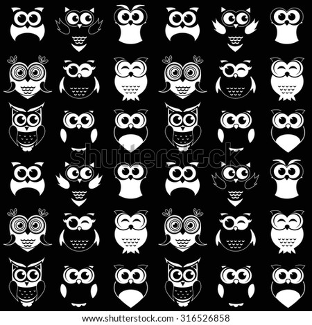 pattern with black and white owls - stock vector